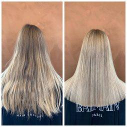 Dameklip hos frisør leaphair før og efter klipning